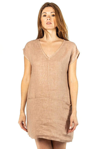 shop-sofia Megan V-Neck Tunic with Pockets Sofia Collections Italian Silk Linen Satin