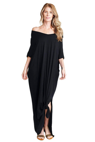Meghan Black Open Slit Maxi Dress