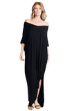 shop-sofia Meghan Black Open Slit Maxi Dress Sofia Collections Italian Silk Linen Satin