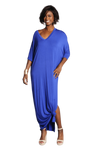 shop-sofia Meghan Lapis Open Side Slit Maxi Sofia Collections Italian Silk Linen Satin