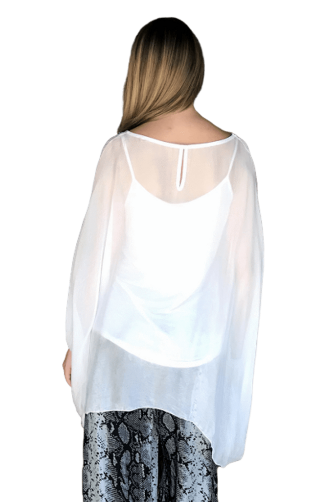 shop-sofia Meghan White Vented Top Sofia Collections Italian Silk Linen Satin