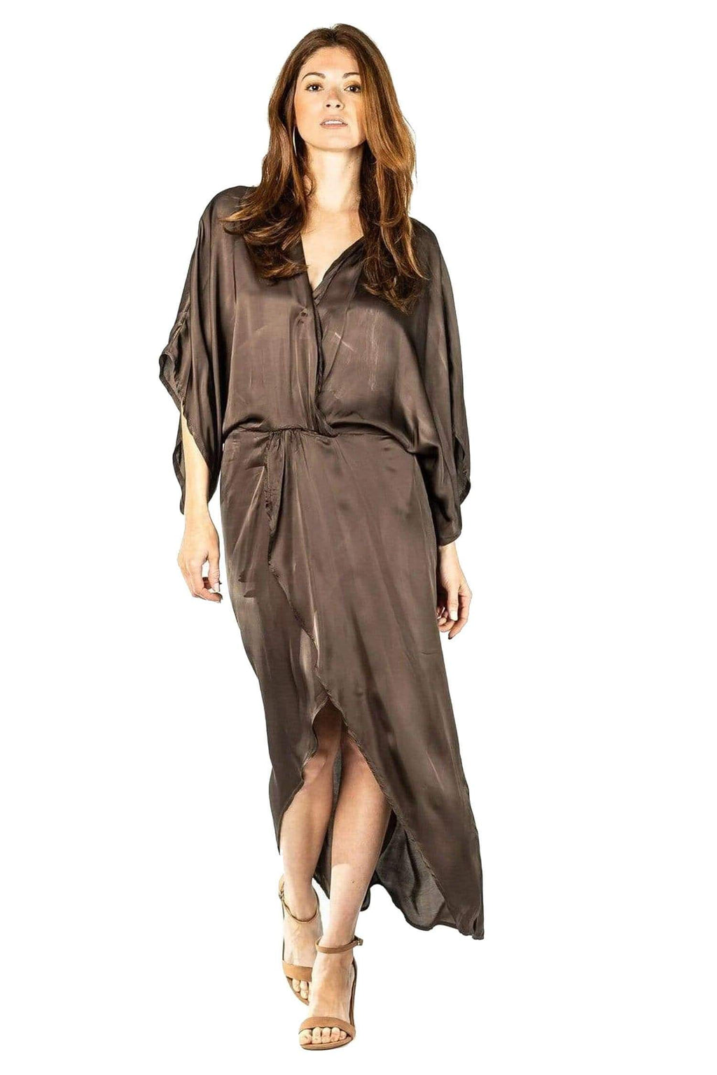 shop-sofia Chocolate Melania Dress Sofia Collections Italian Silk Linen Satin
