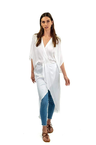 shop-sofia white Melania Dress Sofia Collections Italian Silk Linen Satin