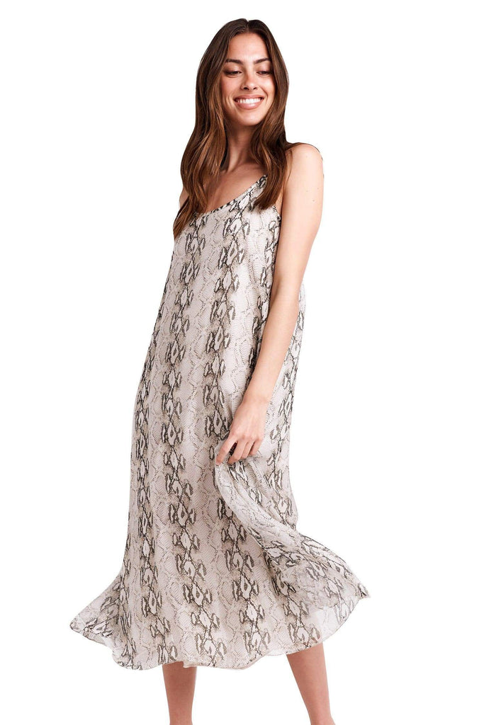 shop-sofia Mia Snake Print Maxi Sofia Collections Italian Silk Linen Satin
