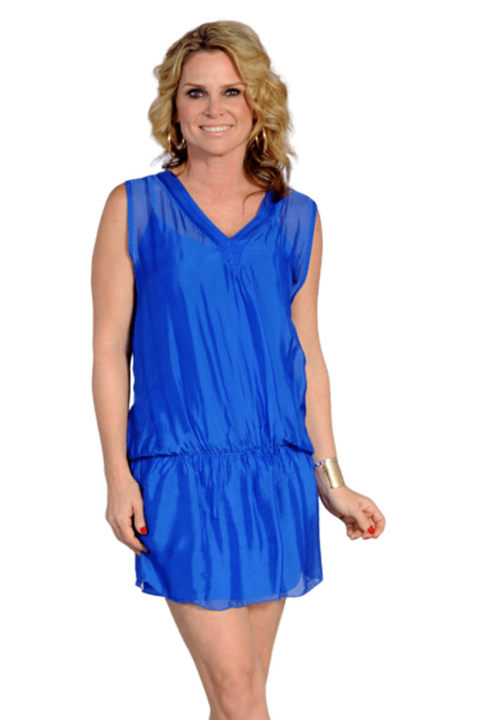 shop-sofia Mila Lapis Dress Sofia Collections Italian Silk Linen Satin