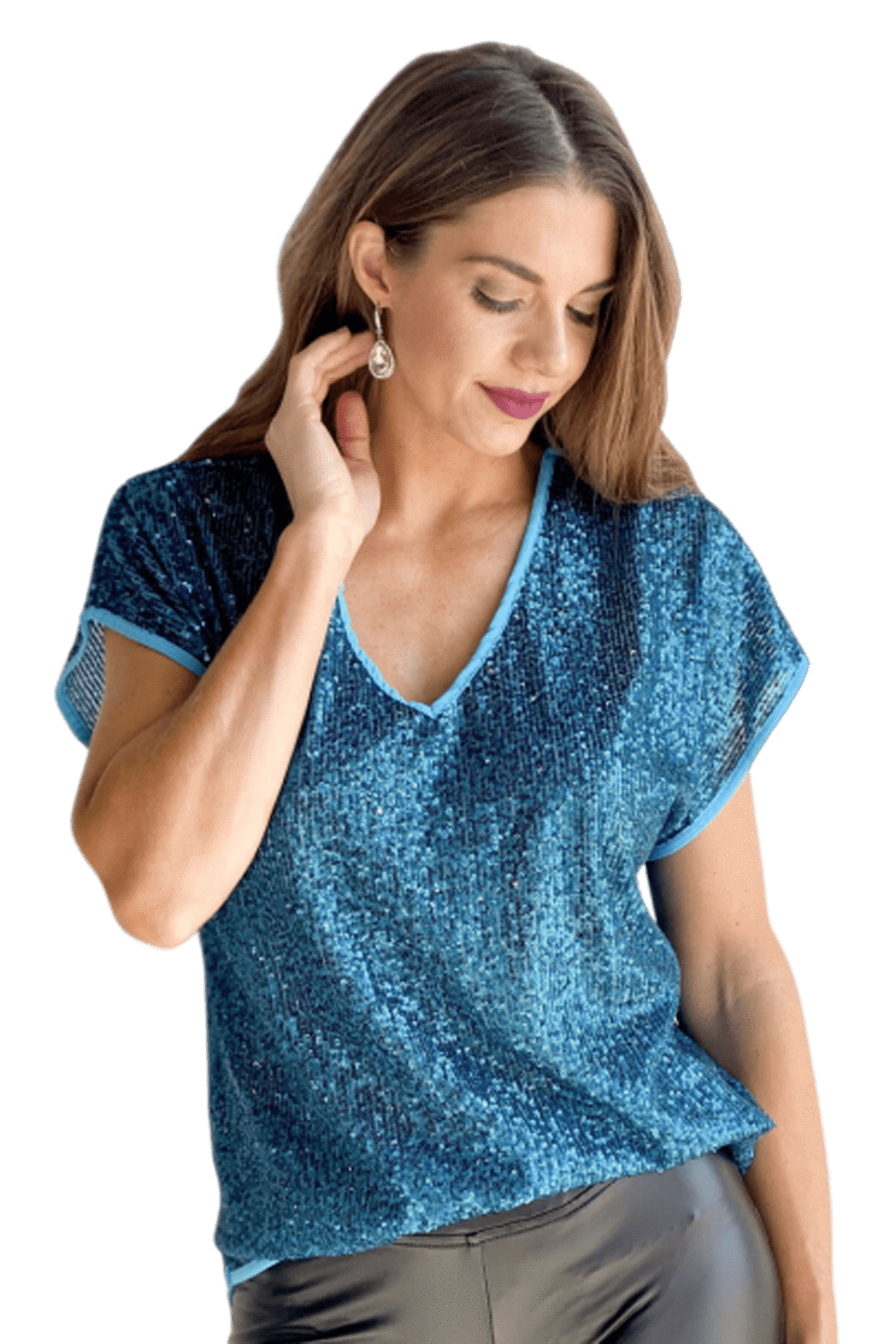 shop-sofia NERI SEQUINS TOP Sofia Collections Italian Silk Linen Satin