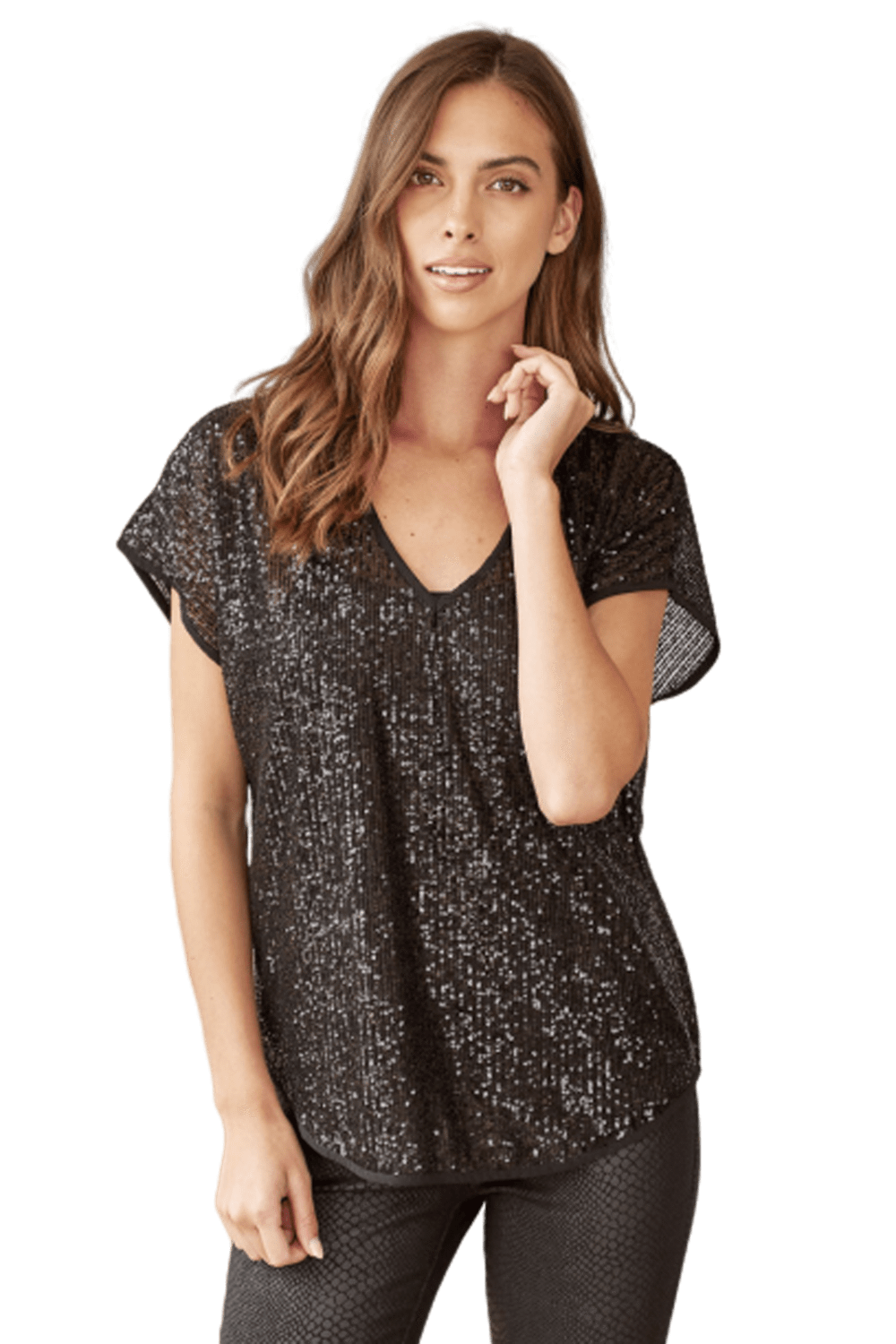 shop-sofia Neri Sparkling Black V-Neck Top Sofia Collections Italian Silk Linen Satin