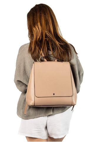 shop-sofia Nude Backpack Bag Sofia Collections Italian Silk Linen Satin