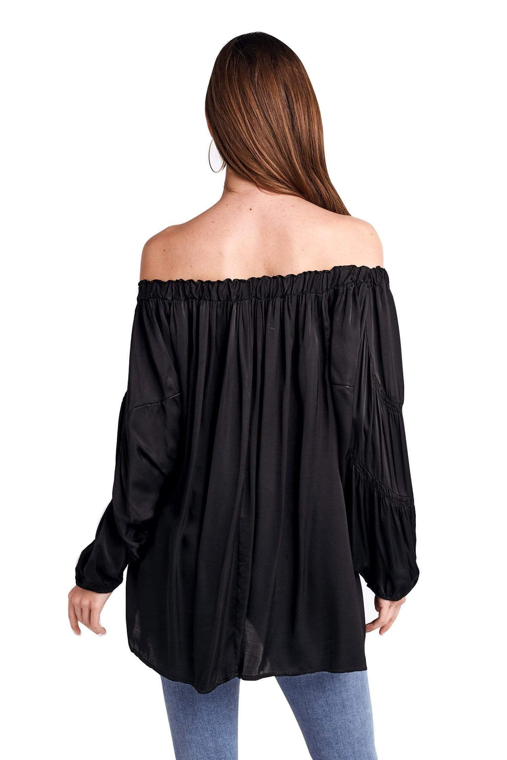 shop-sofia Off Shoulder Black Top Sofia Collections Italian Silk Linen Satin