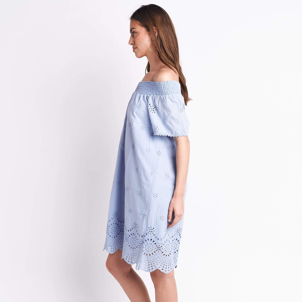 shop-sofia Off Shoulder Blue Dress Sofia Collections Italian Silk Linen Satin