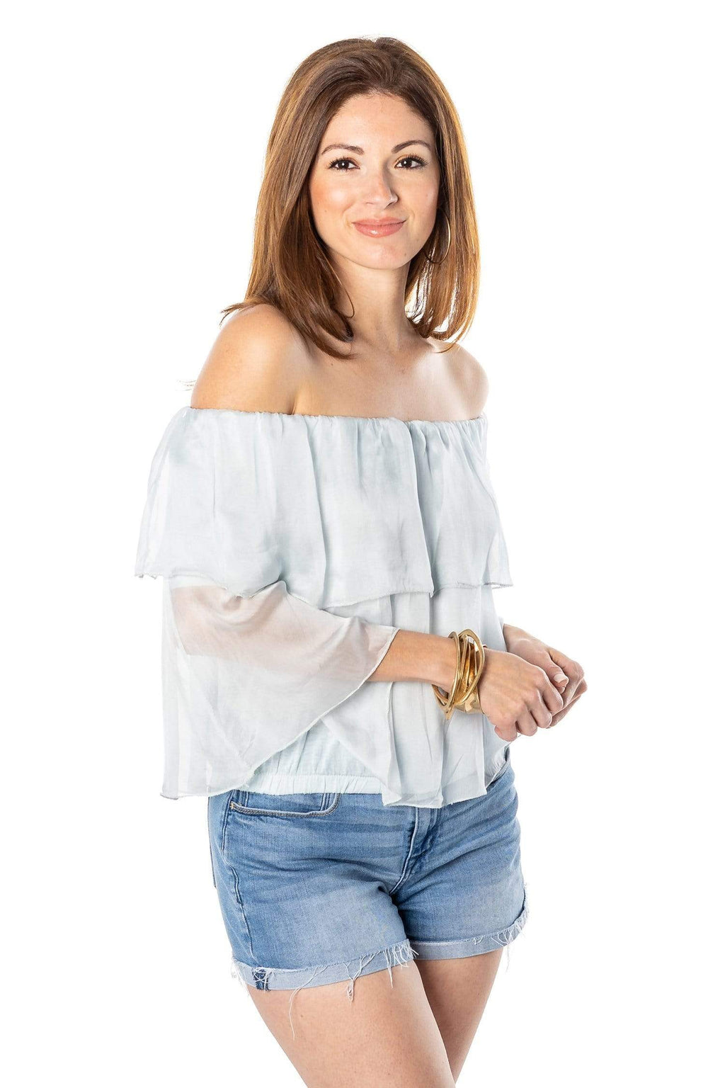 shop-sofia Off Shoulder Ruffle Cielo Top Sofia Collections Italian Silk Linen Satin