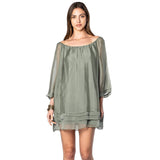 shop-sofia Olive Ruffle Dress Sofia Collections Italian Silk Linen Satin