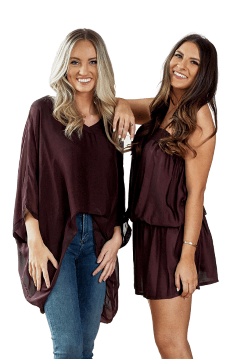 shop-sofia PAULA BURGUNDY TOP Sofia Collections Italian Silk Linen Satin