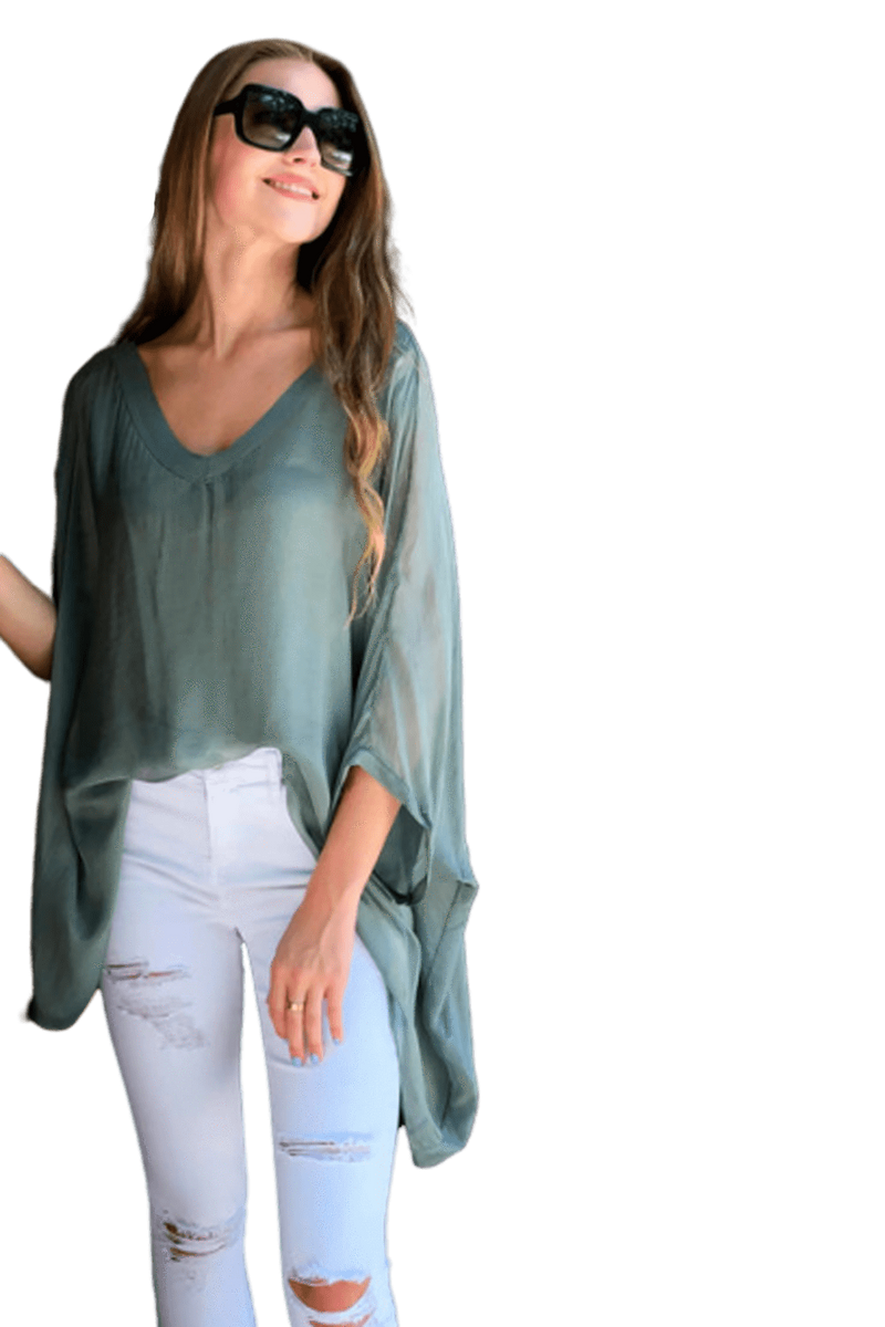 shop-sofia Paula Military Top Sofia Collections Italian Silk Linen Satin