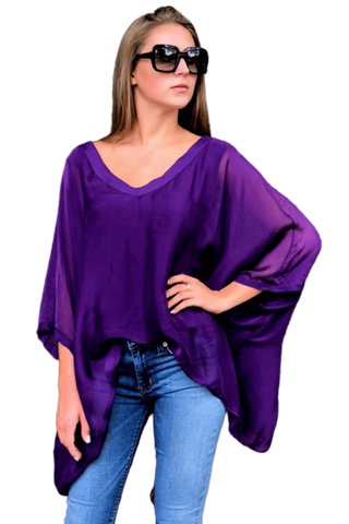 shop-sofia Paula Purple Top Sofia Collections Italian Silk Linen Satin