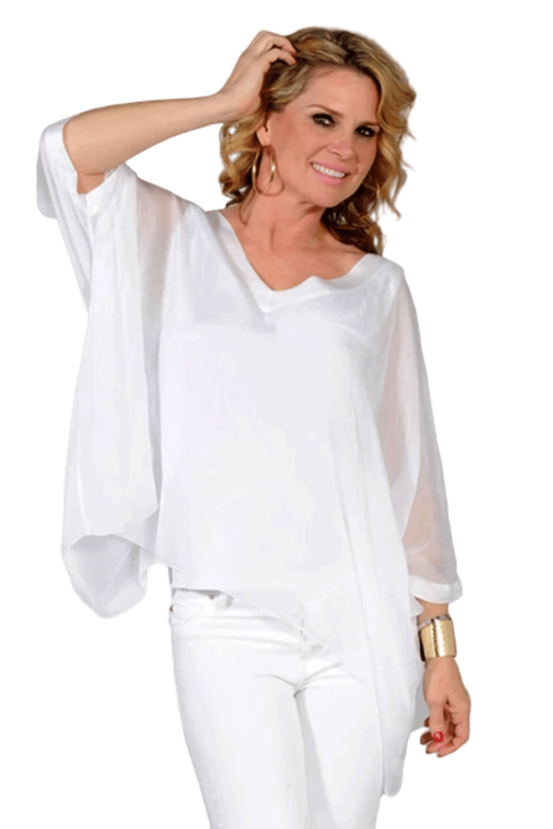 shop-sofia Paula White Top Sofia Collections Italian Silk Linen Satin