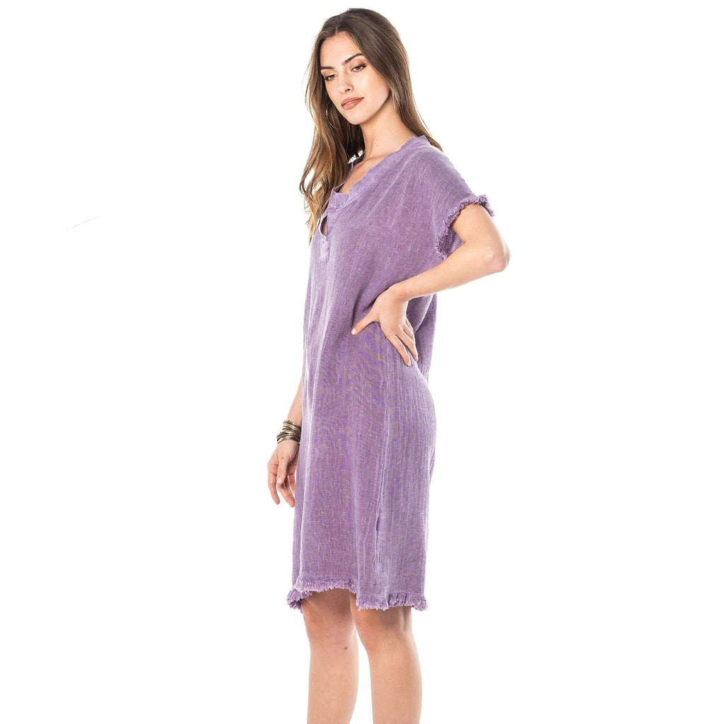 shop-sofia Purple Linen Dress Sofia Collections Italian Silk Linen Satin