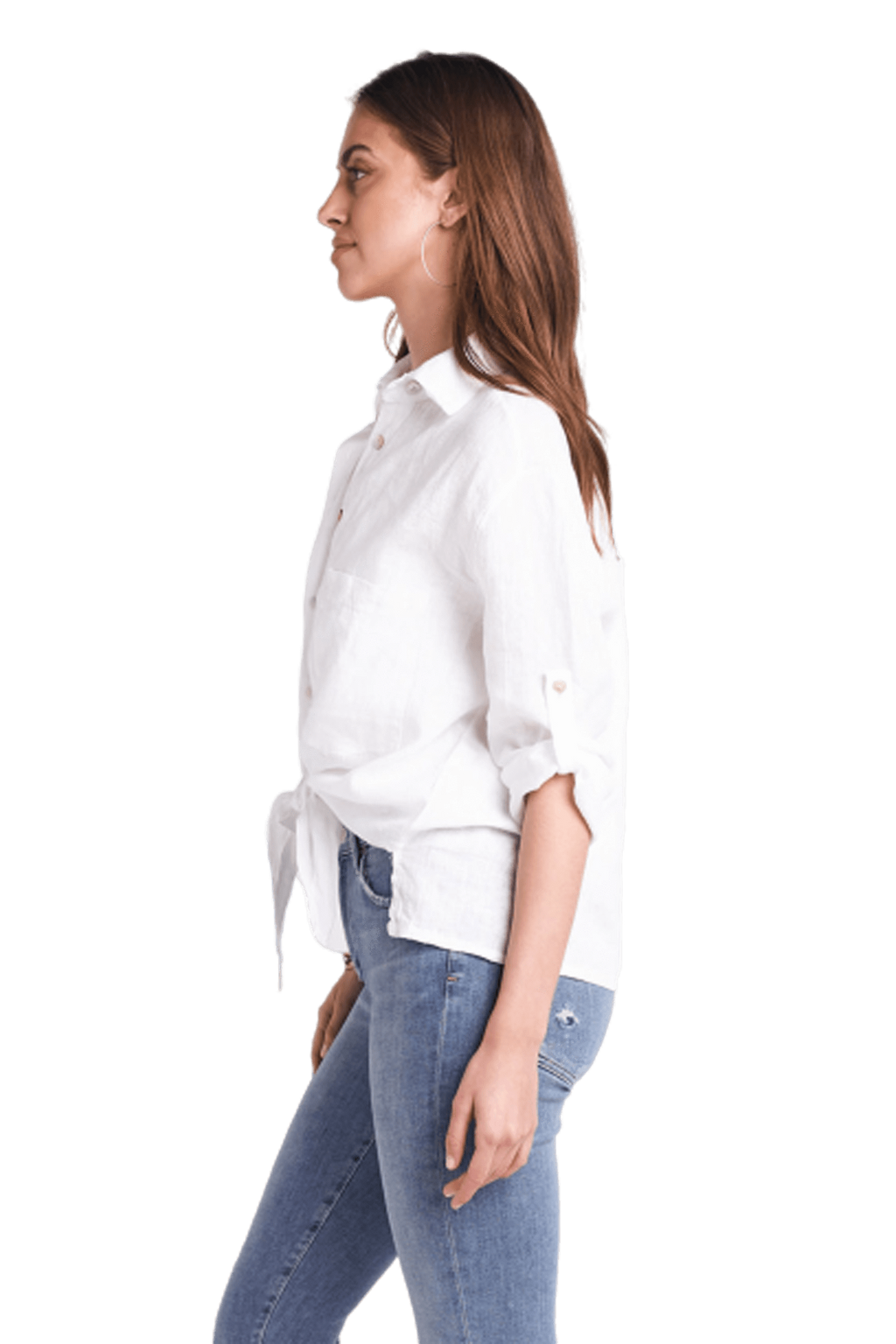 shop-sofia Saddie Tie Shirt Sofia Collections Italian Silk Linen Satin
