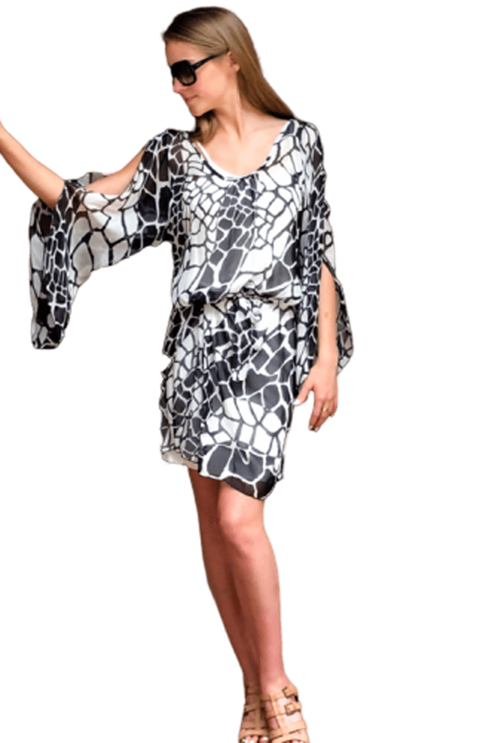 shop-sofia Samantha Giraffe Print Dress Sofia Collections Italian Silk Linen Satin