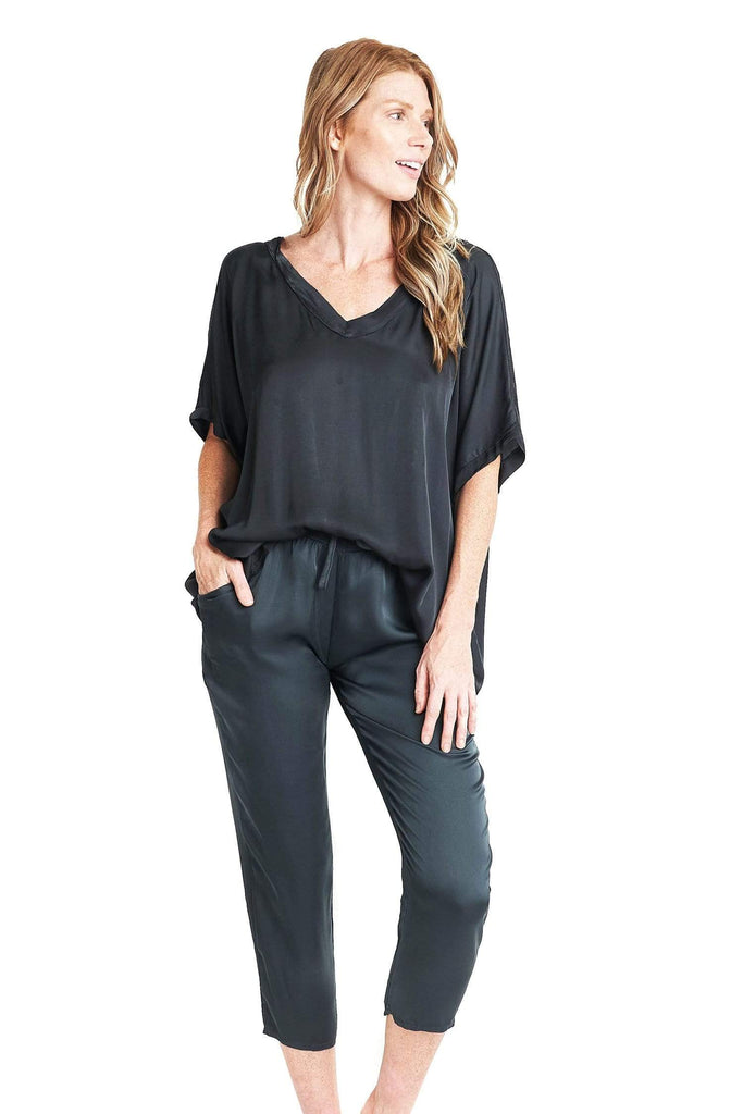 shop-sofia Tops Sandra Top Sofia Collections Italian Silk Linen Satin