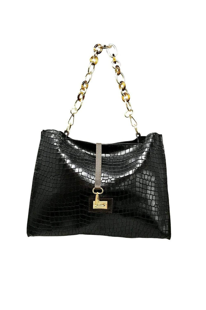 shop-sofia Sassy Black Emboss Chain Strap Shoulder Bag Sofia Collections Italian Silk Linen Satin
