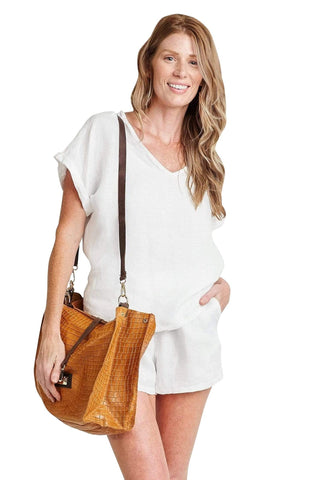 shop-sofia Sassy Cognac Emboss Chain Strap Shoulder Bag Sofia Collections Italian Silk Linen Satin