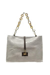 shop-sofia Sassy Off White Emboss Chain Strap Shoulder Bag Sofia Collections Italian Silk Linen Satin
