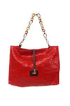 shop-sofia Sassy Red Emboss Chain Strap Shoulder Bag Sofia Collections Italian Silk Linen Satin