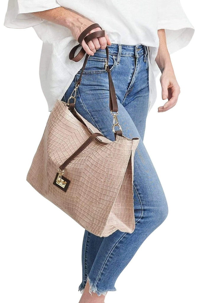 shop-sofia Sassy Sand Emboss Chain Strap Shoulder Bag Sofia Collections Italian Silk Linen Satin