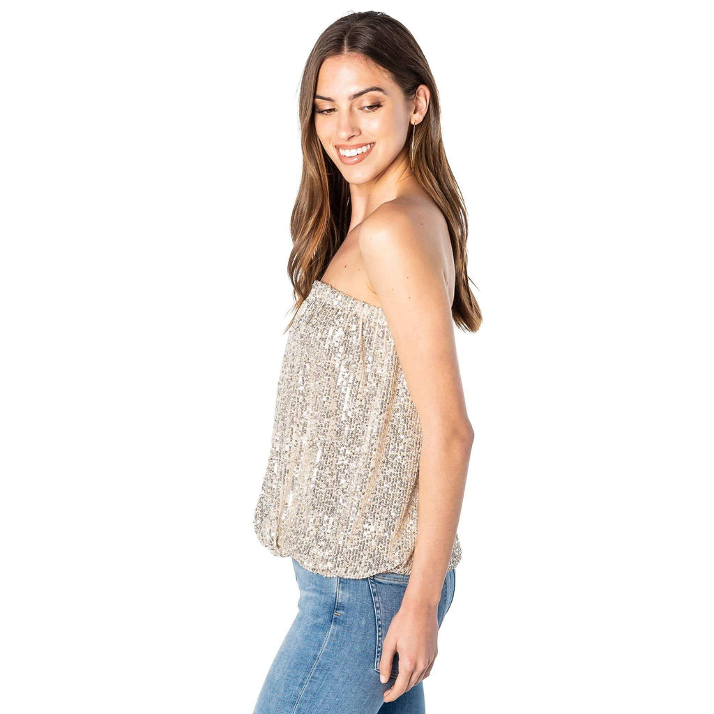 shop-sofia Sassy Sequence Champagne Tube Top Sofia Collections Italian Silk Linen Satin