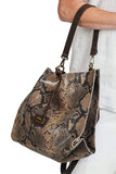 shop-sofia Sassy Snake Chain Strap Shoulder Bag Sofia Collections Italian Silk Linen Satin