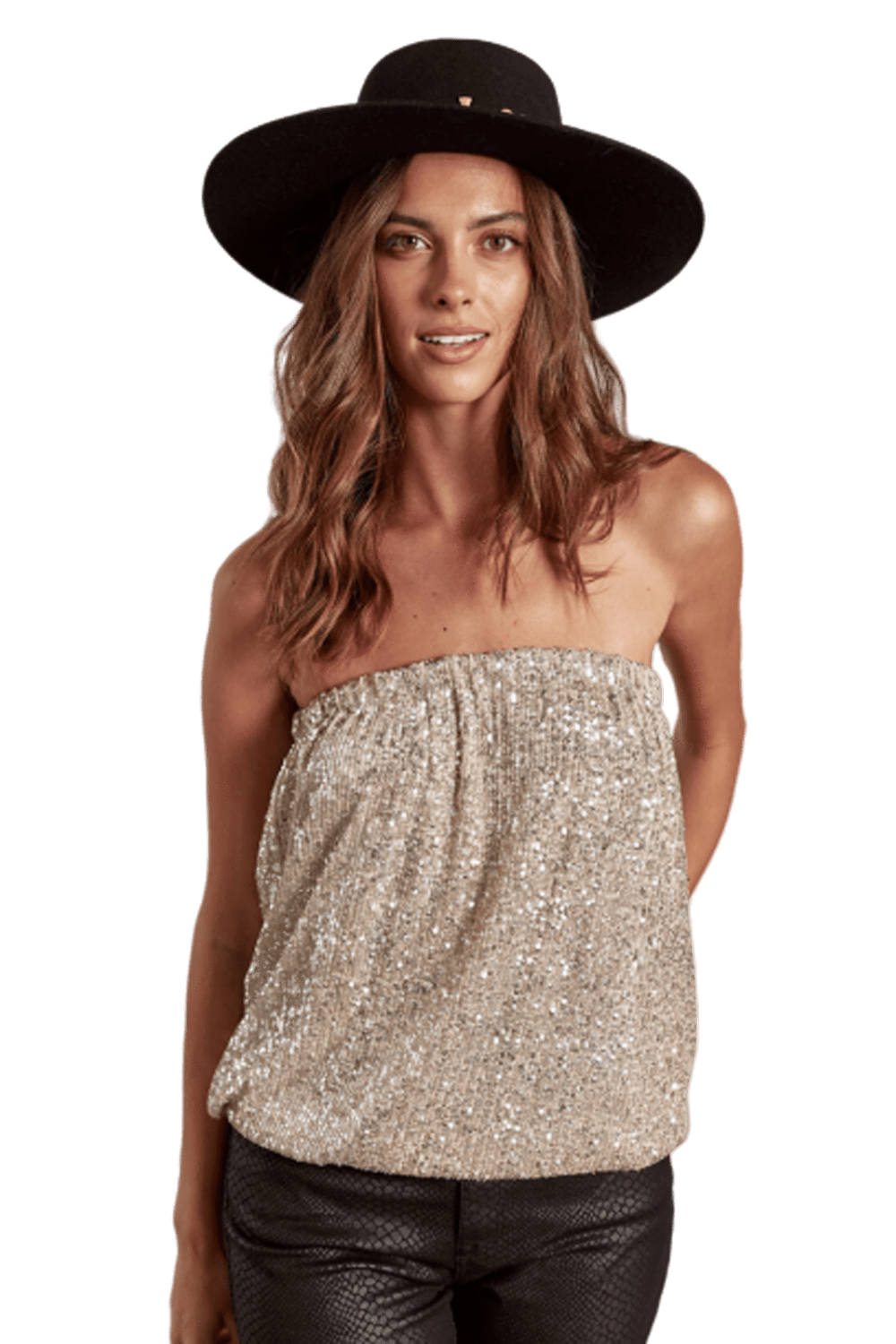 shop-sofia Sassy Sparkling Champagne Tube Top Sofia Collections Italian Silk Linen Satin
