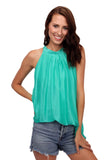 shop-sofia Sky A-Line Sleeveless Top Sofia Collections Italian Silk Linen Satin
