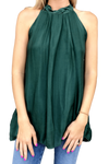 shop-sofia Sky Forest Green A-Line Sleeveless Top Sofia Collections Italian Silk Linen Satin
