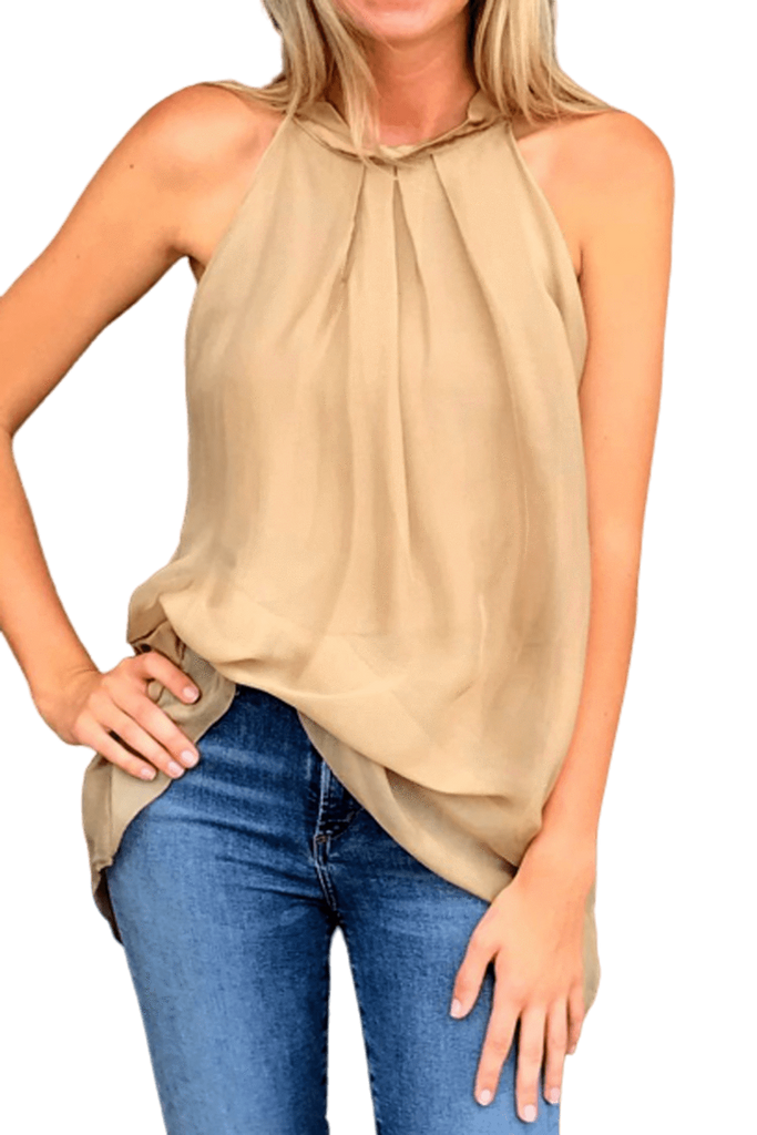 shop-sofia Sky Gold A-Line Sleeveless Top Sofia Collections Italian Silk Linen Satin