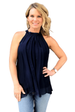 shop-sofia Sky Navy A-Line Sleeveless Top Sofia Collections Italian Silk Linen Satin