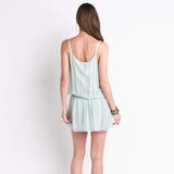 shop-sofia Sleeveless Mint Dress Sofia Collections Italian Silk Linen Satin