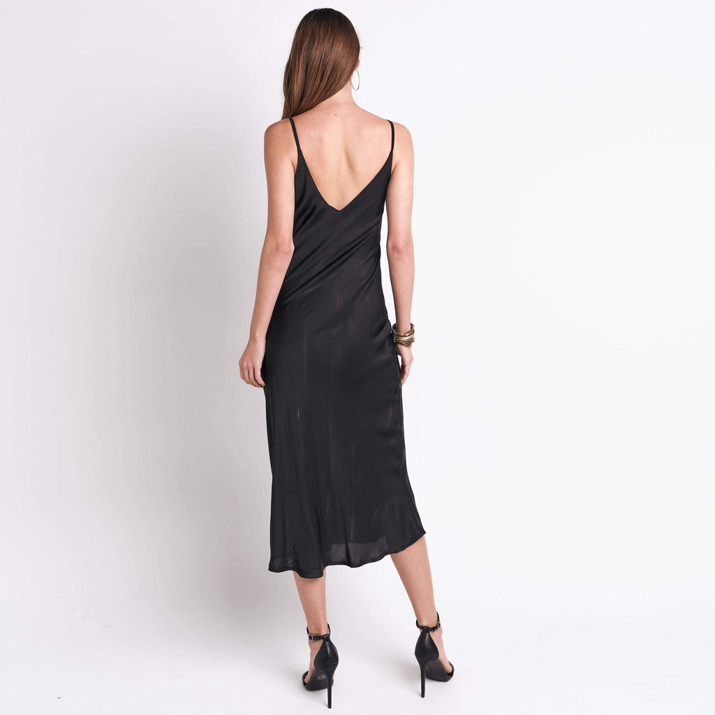 shop-sofia Slip on Black Dress Sofia Collections Italian Silk Linen Satin