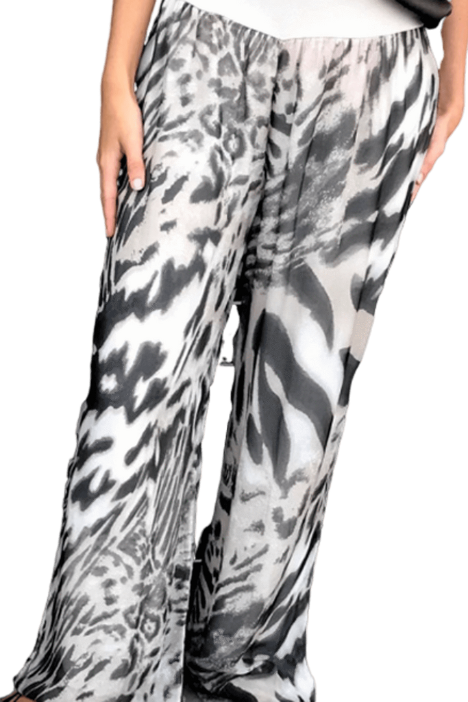 shop-sofia Sofia Animal Print Pants Sofia Collections Italian Silk Linen Satin
