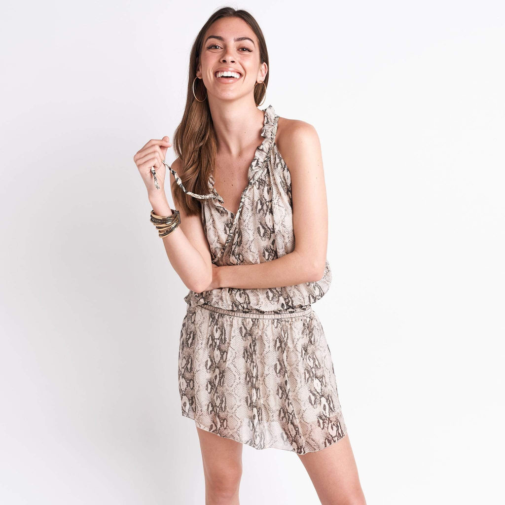 shop-sofia Sofia Beige Snake Print Dress Sofia Collections Italian Silk Linen Satin