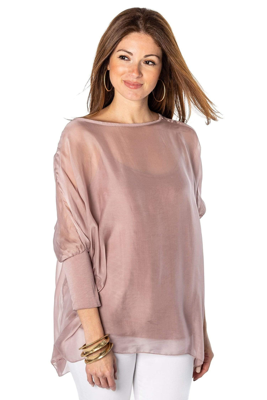 shop-sofia Sofia Blush Top Sofia Collections Italian Silk Linen Satin