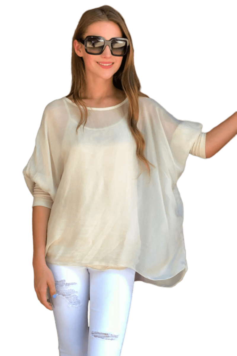 shop-sofia Sofia Champagne Vented Top Sofia Collections Italian Silk Linen Satin