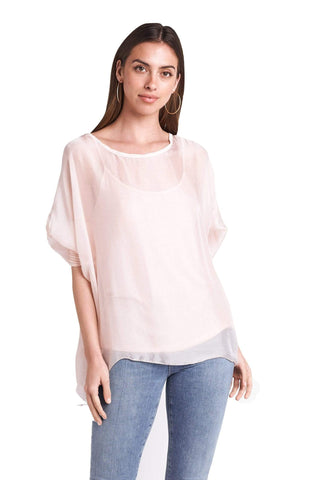 shop-sofia Sofia Cream Top Sofia Collections Italian Silk Linen Satin