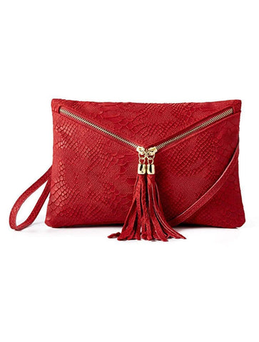 shop-sofia Sofia Cross Body Clutch Italian Leather Snake Emboss Sofia Collections Italian Silk Linen Satin