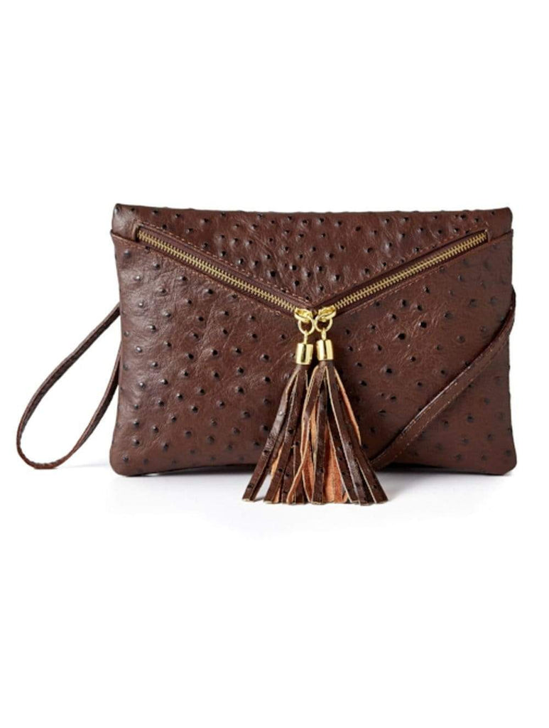 shop-sofia Sofia Cross Body Clutch Ostrich Emboss Leather 6294-26 Espresso Ostrich Sofia Collections Italian Silk Linen Satin