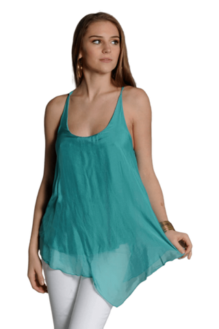 shop-sofia Sofia Emerald Racer Back Tank Top Sofia Collections Italian Silk Linen Satin