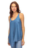 shop-sofia Sofia French Blue Racer Back Tank Top Sofia Collections Italian Silk Linen Satin