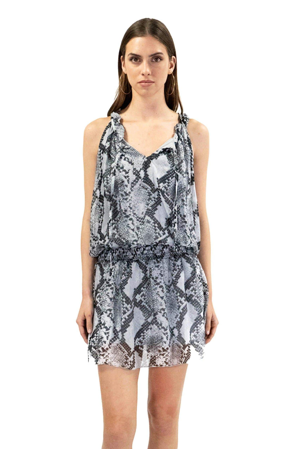shop-sofia SOFIA GREY SNAKE PRINT DRESS Sofia Collections Italian Silk Linen Satin