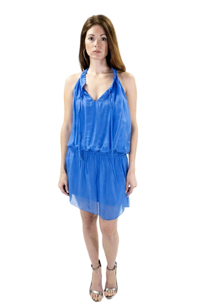 shop-sofia Sofia Lapis Dress Sofia Collections Italian Silk Linen Satin