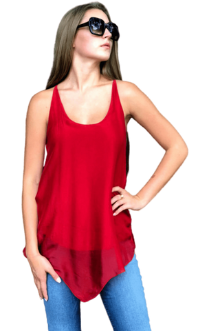 shop-sofia Sofia Red Racer Back Tank Top Sofia Collections Italian Silk Linen Satin